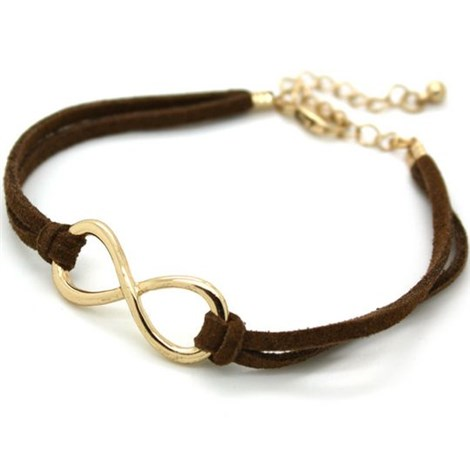 Gold Infinity Friendship Bracelet- Brown suede